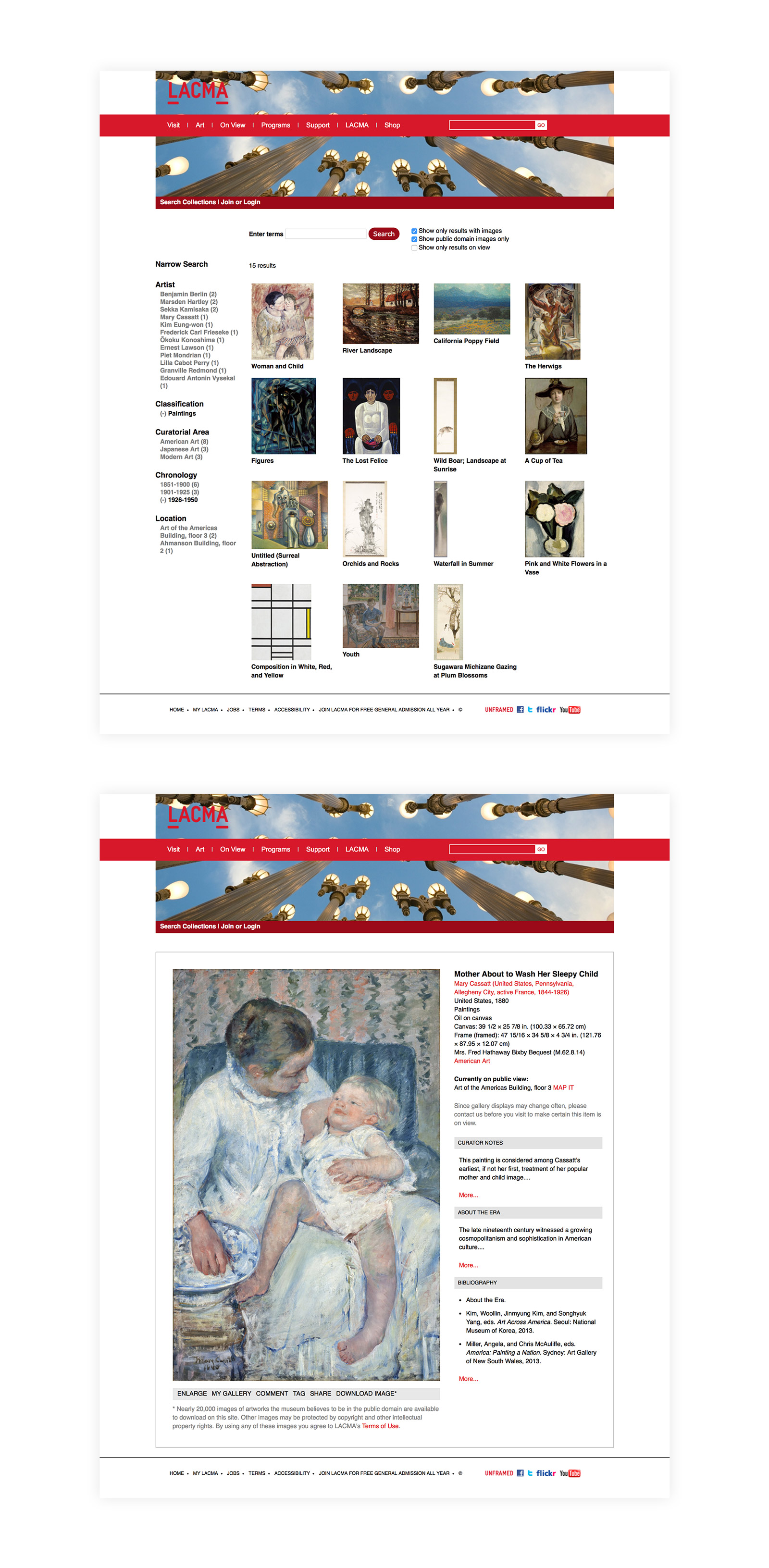 LACMA Website Screenshots