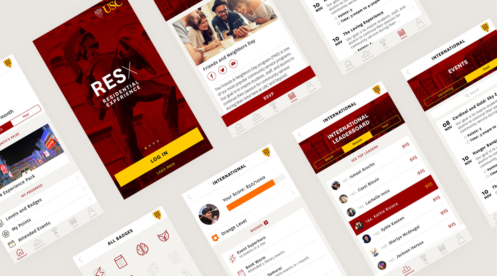 USC Residential Experience App Mockups