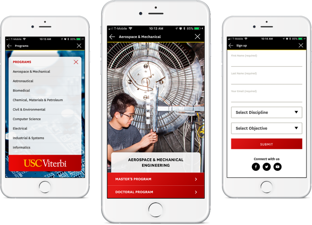 USC Viterbi: Graduate Viewbook App Screenshots