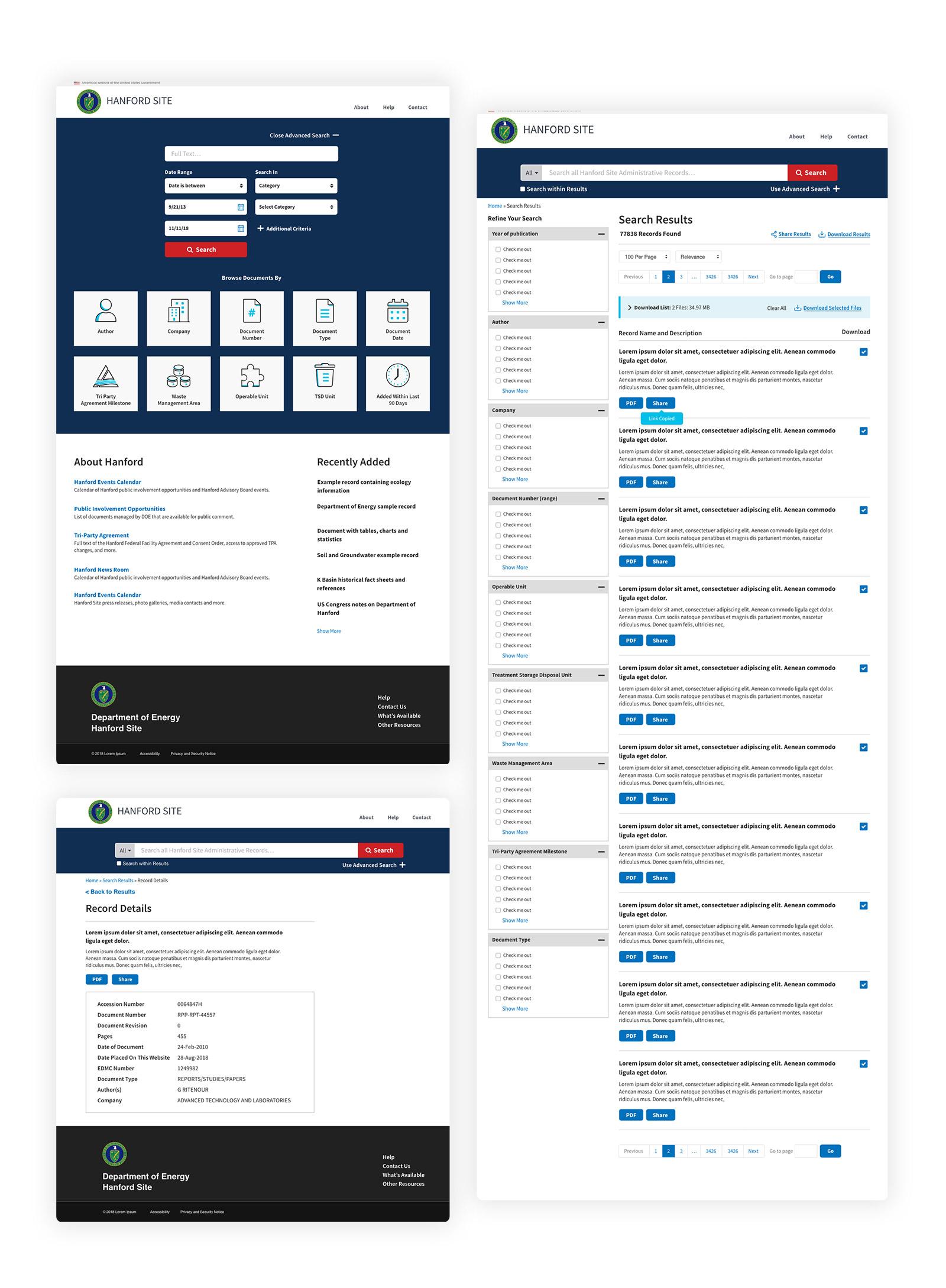 Hanford Website Screenshots