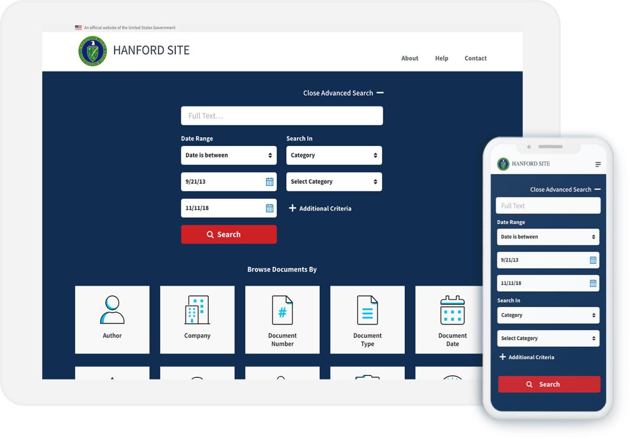 Hanford Website Screenshot Laptop