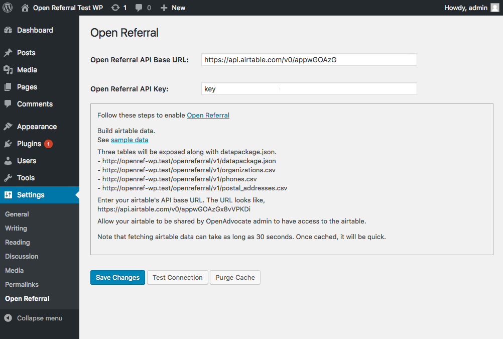 Open Referral WordPress Plugin configuration panel