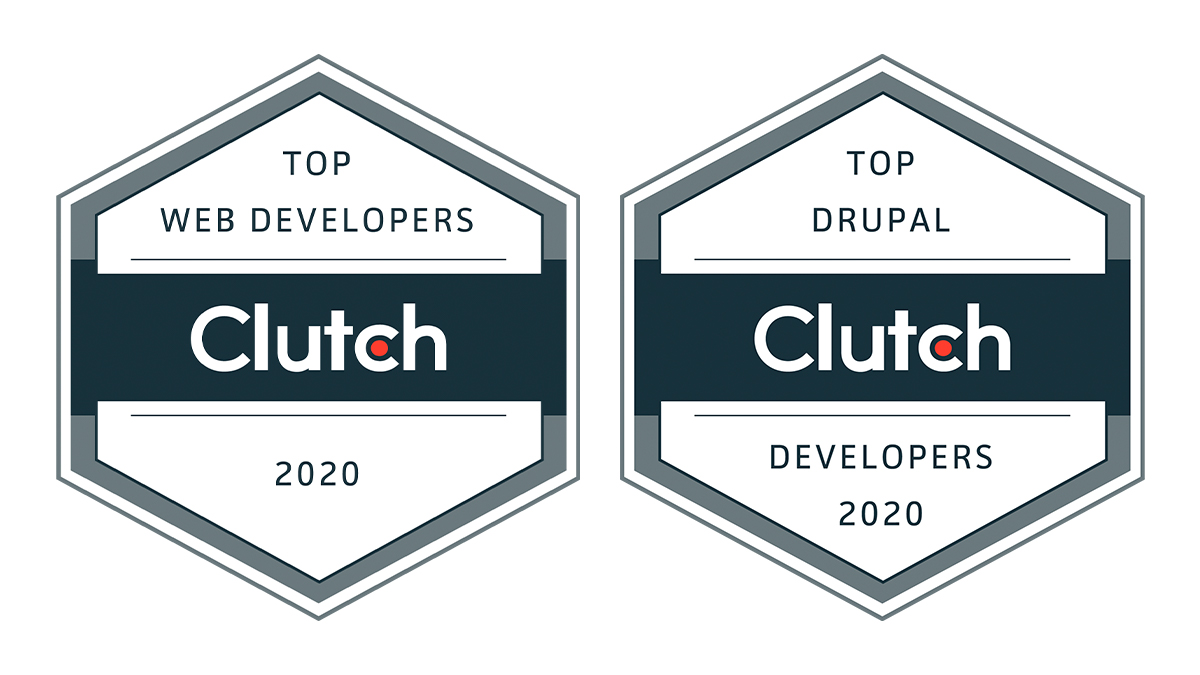 Clutch.co badges recognizing Urban Insight as top web development company and top Drupal development agency in the United States in 2020.