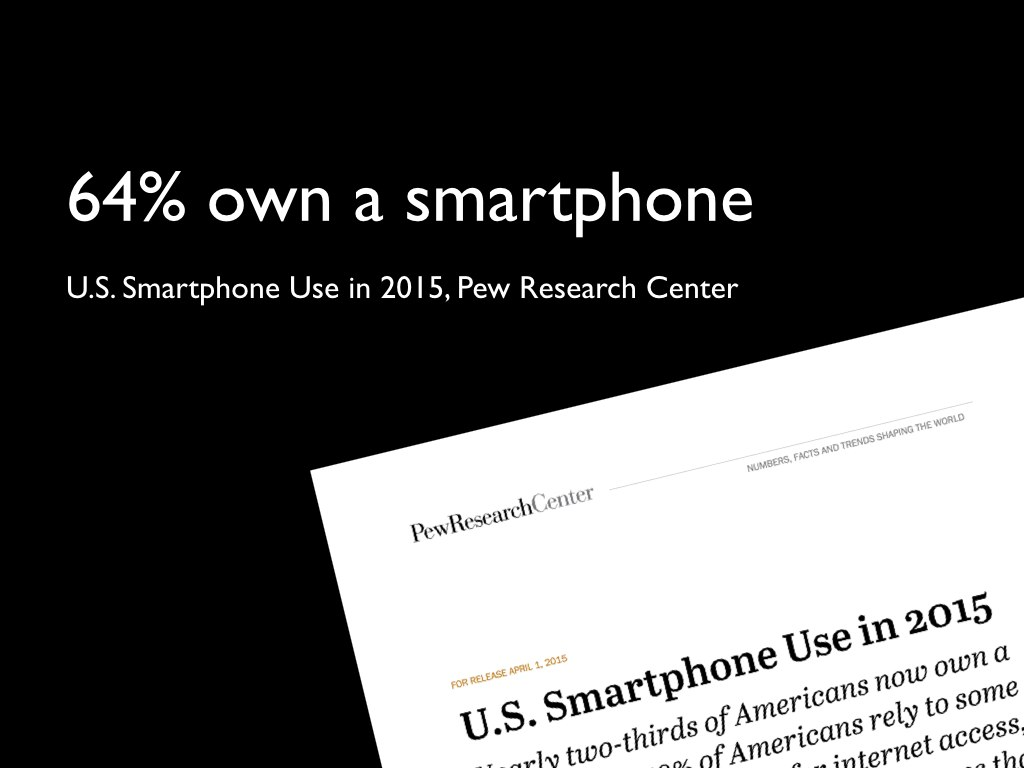 Slide 3: 64% own a smartphone.