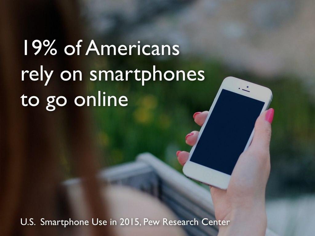 Slide 4: 19% of American rely on smartphones to go online.