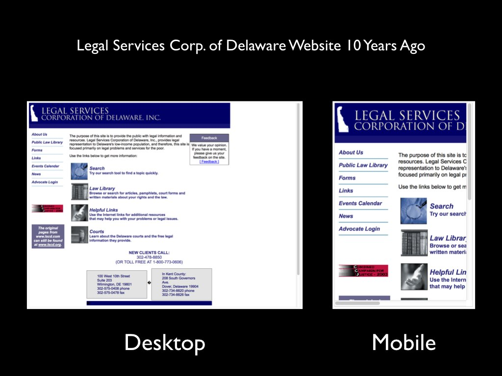 Slide 8: The old LSCD website viewed on desktop and smartphone.