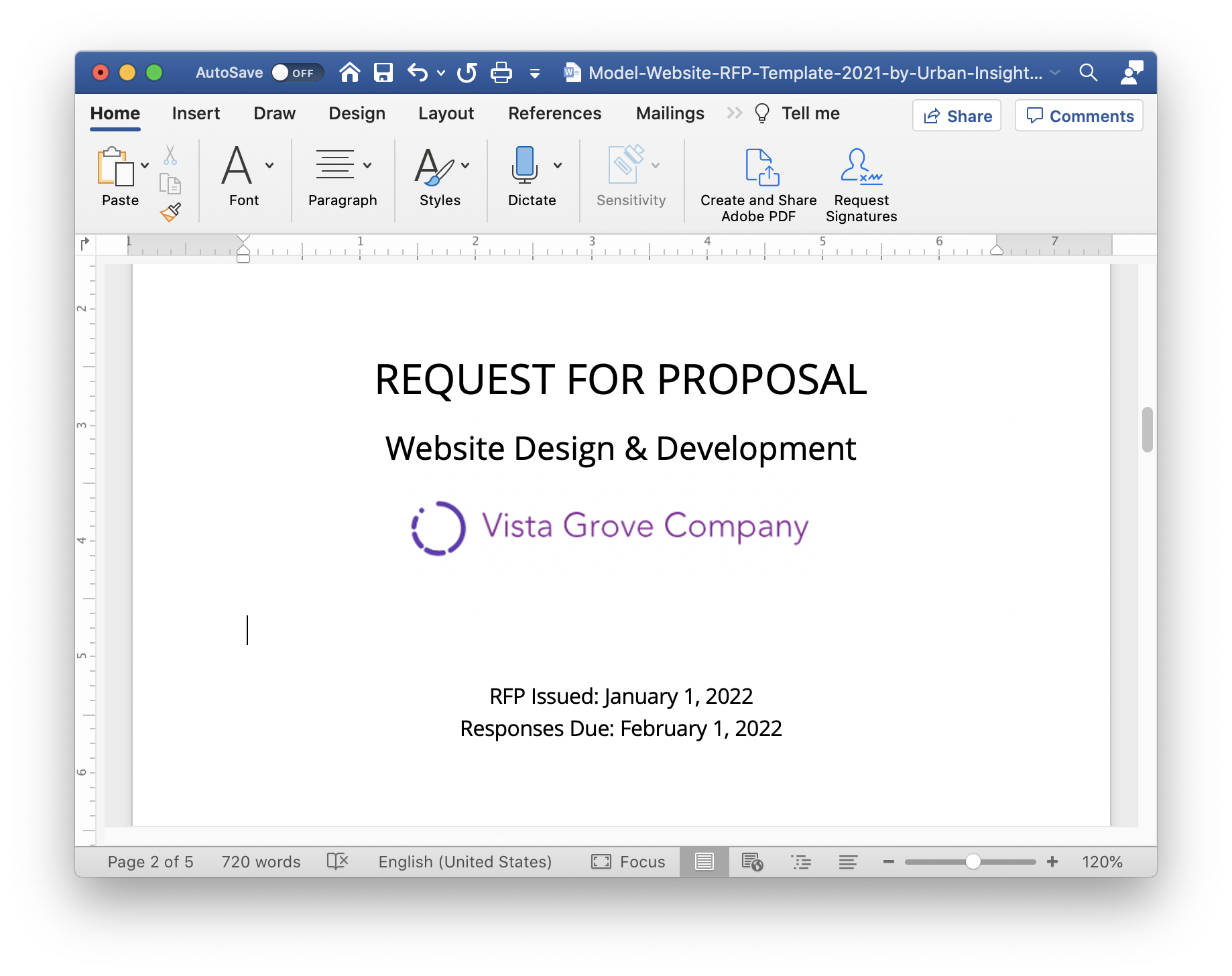 Screenshot of the model website redesign RFP (request for proposal) template